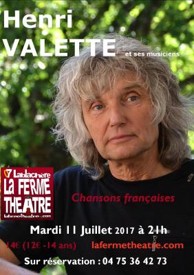 """Henri VALETTE """"Chansons françaises"""" mardi 11 juillet 2017 à 21h15"""