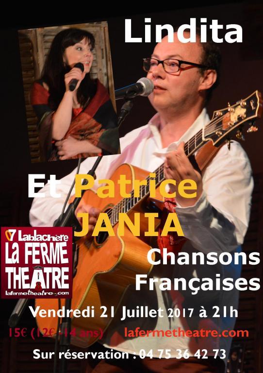 """Lindita et Patrice Jania """"Chansons françaises"""" vendredi 21 juillet 2017 21h15"""