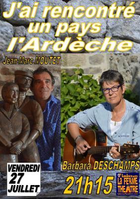 """""""J'ai rencontré un pays"""" avec Barbara DESCHAMPS  et Jean-Marc MOUTET Vendredi 27 juillet 2018 à 21h15"""