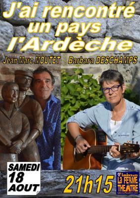 """""""J'ai rencontré un pays"""" avec Barbara DESCHAMPS  et Jean-Marc MOUTET Samedi 18 Août 2018 à 21h15"""