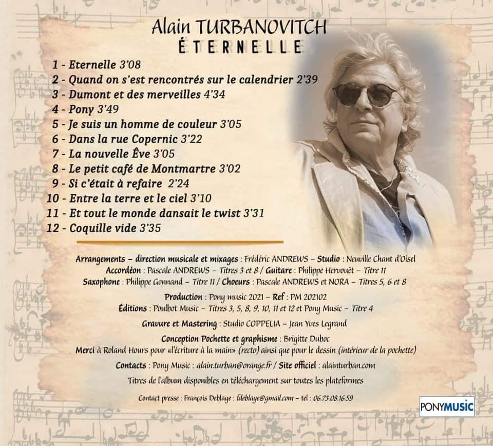 Alain turban nouveau cd 2021 titres