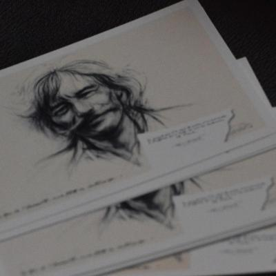 10 cartes postales du portrait de Jean Ferrat par Ernest Pignon Ernest.