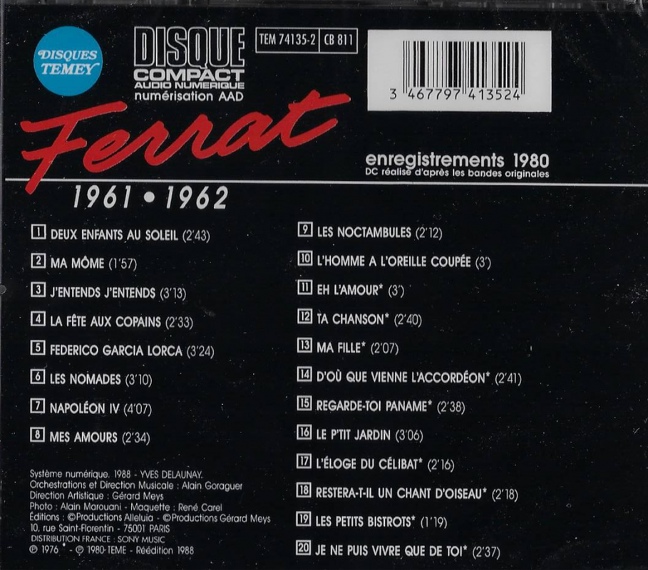 Cd jean ferrat vol 1 recto